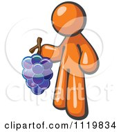 Cartoon Of An Orange Man Vintner Wine Maker Holding Grapes Royalty Free Vector Clipart