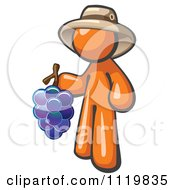 Cartoon Of An Orange Man Vintner Wine Maker Wearing A Hat And Holding Grapes Royalty Free Vector Clipart by Leo Blanchette