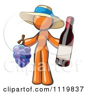 Cartoon Of An Orange Woman Vintner Wine Maker Wearing A Hat And Holding Grapes And Wine Royalty Free Vector Clipart