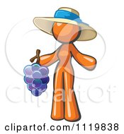 Cartoon Of An Orange Woman Vintner Wine Maker Wearing A Hat And Holding Grapes Royalty Free Vector Clipart by Leo Blanchette