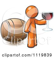 Cartoon Of An Orange Man Toasting By A Wine Barrel At A Winery Royalty Free Vector Clipart