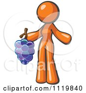 Cartoon Of An Orange Woman Vintner Wine Maker Holding Grapes Royalty Free Vector Clipart