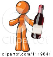 Cartoon Of An Orange Woman Vintner Holding A Bottle Of Red Wine Royalty Free Vector Clipart