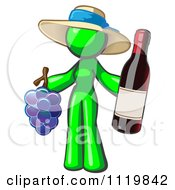Cartoon Of A Lime Green Woman Vintner Wine Maker Wearing A Hat And Holding Grapes And Wine Royalty Free Vector Clipart