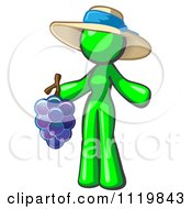 Lime Green Woman Vintner Wine Maker Wearing A Hat And Holding Grapes