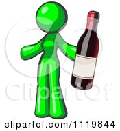 Cartoon Of A Lime Green Woman Vintner Holding A Bottle Of Red Wine Royalty Free Vector Clipart