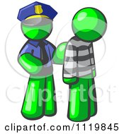 Cartoon Of A Lime Green Man Police Officer And Prisoner Royalty Free Vector Clipart by Leo Blanchette