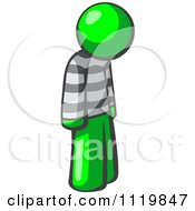 Cartoon Of A Moping Lime Green Man Prisoner Royalty Free Vector Clipart
