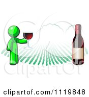 Cartoon Of A Lime Green Man Wine Tasting At A Winery Royalty Free Vector Clipart by Leo Blanchette