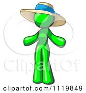 Cartoon Of A Lime Green Woman Wearing A Sun Hat Royalty Free Vector Clipart by Leo Blanchette