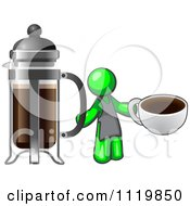 Cartoon Of A Lime Green Man Barista Holding A Cup Of Coffee By A French Press Royalty Free Vector Clipart by Leo Blanchette