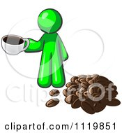 Cartoon Of A Lime Green Man With A Cup Of Coffee By Beans Royalty Free Vector Clipart by Leo Blanchette