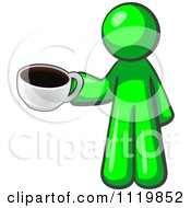 Cartoon Of A Lime Green Man With A Cup Of Coffee Royalty Free Vector Clipart by Leo Blanchette