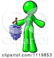 Cartoon Of A Lime Green Woman Vintner Wine Maker Holding Grapes Royalty Free Vector Clipart by Leo Blanchette