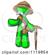Cartoon Of A Lime Green Man Explorer With A Pack And Cane Royalty Free Vector Clipart by Leo Blanchette