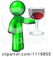 Cartoon Of A Lime Green Man Wine Tasting And Giving A Toast Royalty Free Vector Clipart by Leo Blanchette
