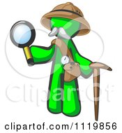 Cartoon Of A Lime Green Man Explorer With A Pack Cane And Magnifying Glass Royalty Free Vector Clipart by Leo Blanchette