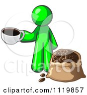 Cartoon Of A Lime Green Man With A Cup Of Coffee Over A Bag Of Beans Royalty Free Vector Clipart by Leo Blanchette