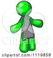 Cartoon Of A Lime Green Man Wearing An Apron Royalty Free Vector Clipart by Leo Blanchette