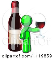 Cartoon Of A Lime Green Man Wine Tasting By A Giant Bottle Royalty Free Vector Clipart by Leo Blanchette