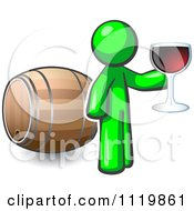Cartoon Of A Lime Green Man Toasting By A Wine Barrel At A Winery Royalty Free Vector Clipart by Leo Blanchette