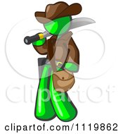 Cartoon Of A Lime Green Explorer Man Carrying A Machete Royalty Free Vector Clipart by Leo Blanchette