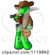 Lime Green Explorer Man Carrying A Machete