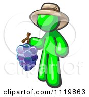 Cartoon Of A Lime Green Man Vintner Wine Maker Wearing A Hat And Holding Grapes Royalty Free Vector Clipart by Leo Blanchette