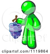 Cartoon Of A Lime Green Man Vintner Wine Maker Holding Grapes Royalty Free Vector Clipart by Leo Blanchette