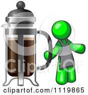 Cartoon Of A Lime Green Man Barista By A Coffee French Press Royalty Free Vector Clipart by Leo Blanchette