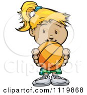 Cartoon Of A Cute Blond Girl Holding A Basketball Royalty Free Vector Clipart