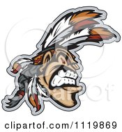 Clipart Of A Aggressive Native American Indian Brave Royalty Free Vector Illustration by Chromaco