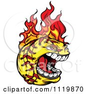 Cartoon Of A Fiery Aggressive Screaming Softball Mascot Royalty Free Vector Clipart
