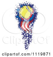 Clipart Of A Tennis Ball With A Trail Of American Stars And Stripes Royalty Free Vector Illustration