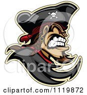 Clipart Of An Aggressive Pirate In Profile Royalty Free Vector Illustration by Chromaco