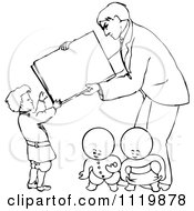 Retro Vintage Black And White Goops Kids Under A Man And Boy With A Sign