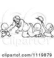 Retro Vintage Black And White Goops Kids Attacking A Man