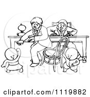 Clipart Of Retro Vintage Black And White Goops Kids Pulling A Chair Out From Under A Man Royalty Free Vector Illustration
