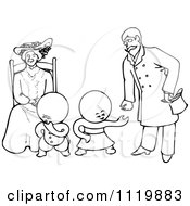 Retro Vintage Black And White Goops Kids With A Lady And Man