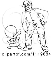 Retro Vintage Black And White Goops Kid Pointing At A Man