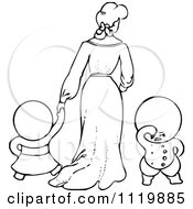 Retro Vintage Black And White Goops Kids With A Lady
