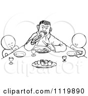 Clipart Of Retro Vintage Black And White Goops Kids At A Table Royalty Free Vector Illustration by Prawny Vintage