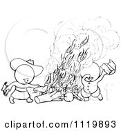 Clipart Of Retro Vintage Black And White Goops Kids At A Fire Royalty Free Vector Illustration