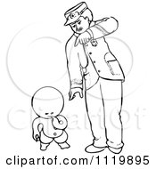 Clipart Of A Retro Vintage Black And White Goops Kid Thinking By A Man Royalty Free Vector Illustration by Prawny Vintage