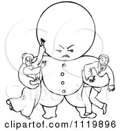 Clipart Of A Retro Vintage Black And White Goops Kid Attacking Adults Royalty Free Vector Illustration by Prawny Vintage