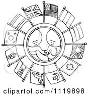 Clipart Of Retro Vintage Black And White Goops Kids In A Circle Of Flags Royalty Free Vector Illustration by Prawny Vintage