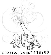 Clipart Of A Retro Vintage Black And White Goops Kid Shooting Someone From A Cannon Royalty Free Vector Illustration by Prawny Vintage