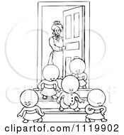 Clipart Of Retro Vintage Black And White Goops Kids Leaving A House Royalty Free Vector Illustration
