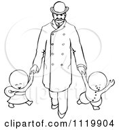 Clipart Of Retro Vintage Black And White Goops Kids Walking With A Man Royalty Free Vector Illustration