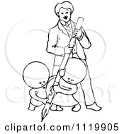 Clipart Of Retro Vintage Black And White Goops Kids Writing With A Man Royalty Free Vector Illustration by Prawny Vintage
